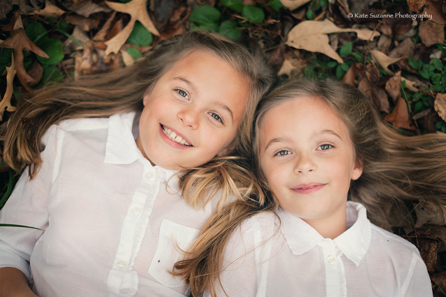 Twin Girls In Fall Leaves Kate Suzanne Photography